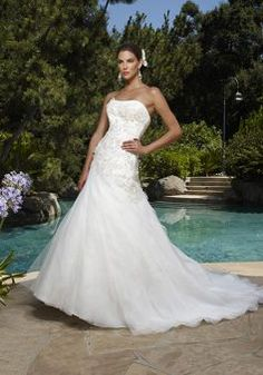Glamorous Floor Length Organza A line Scoop Asymmetric Waist Wedding Dress - 1300103241B - US$229.99 - BellasDress