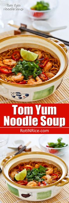 This spicy tangy Tom Yum Noodle Soup with chicken and shrimps is sure to wake up your taste buds. Less than 20 minutes to prepare. With video. Tom Yum Noodle Soup, Tom Yum Noodles, Tom Yum Soup, Noodle Recipes, Seafood Recipes, Soup Recipes, Cooking Recipes, Rhubarb Jam Recipes, Eat Thai