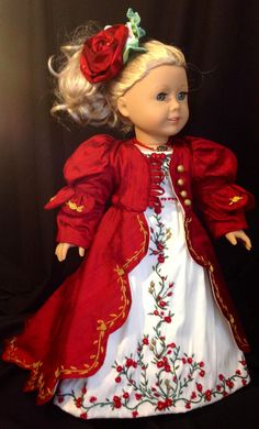 Red Red Rose Regency Ball Gown for Caroline by Rand Dolls | eBay auction SOLD 2/1/13  $153.49