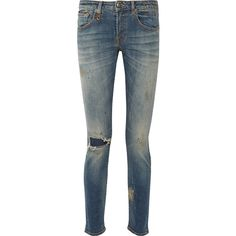 R13 Alison distressed mid-rise skinny jeans (4.150 NOK) ❤ liked on Polyvore featuring jeans, pants, blue, stretch jeans, mid rise skinny jeans, stretch denim skinny jeans, destroyed skinny jeans and ripped jeans