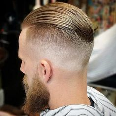 Slicked Back Undercut with Thick Beard - Best Slicked Back Undercut Hairstyles For Men: Cool Short, Medium and Long Combed Back Hair with Undercut or Undercut Fade Slick Back Undercut, Slick Back Haircut, Undercut Fade, Fade Haircut, Slick Back Fade, Mens Haircut Back, Undercut For Men, Combed Back Hair, Slicked Back Hair