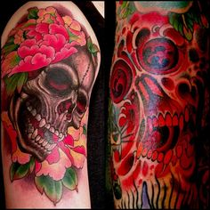 """#skull and #peony and freehand skull #water #wave filler. @kingsavetattoo #goodmorning #kingsave #tattoo #kingsavenue #kingsavenyc #mikerubendall…"""