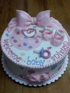 Girl Baby Shower Cake.... Could switch up the colors for a boy.