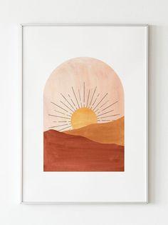 Small Canvas Art, Diy Canvas Art, Minimalist Painting, Minimalist Art, Landscape Prints, Abstract Landscape, Sun Painting, Knife Painting, Abstract Wall Art