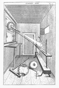 "Projection of light through a telescopic lense, 1685. Engraving of Johann Zahn's creation of a mechanical eye, the scioptric ball (a ball of wood with a hole made through the center in which a lens or pair of lenses is placed) designed to project the image of the sun in a camera obscura, from ""Oculus Artificialis Teledioptricus Sive Telescopium."" NLM Image ID: A030190. #colorourcollections Download the NLM coloring book featuring Images from the History of Medicine."