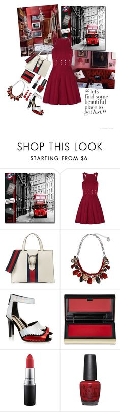 """""""Let's find some beautiful place to get lost"""" by jeanine65 ❤ liked on Polyvore featuring Cushnie Et Ochs, Gucci, Erica Lyons, Kat Maconie, Kevyn Aucoin, OPI and Kenneth Jay Lane"""