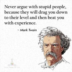 Never argue with stupid people they will drag you down to their level and then beat you with experience. - Mark Twain