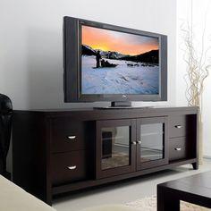 Baxton Studio 'Matlock' Modern Glass Door Dark Brown TV Stand - Overstock™ Shopping - Great Deals on Baxton Studio Entertainment Centers