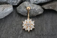 Crystal Flower Belly Button Ring Stud in Gold at MyBodiArt