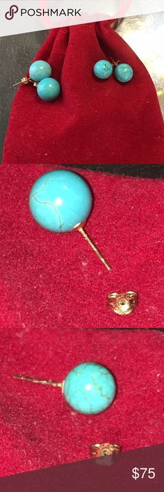 GENUINE Turquoise Studs 6mm & 8mm in 14K Y. Gold Beautiful perfect round genuine turquoise studs in size 6 mm and 8 mm. 14K yellow gold posts. Can pair with turquoise ring as shown in pic. New. Price is for ONE pair. Jewelry Earrings
