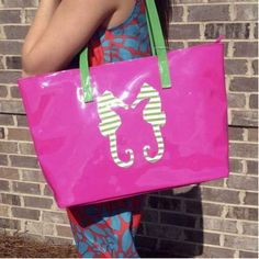 Pink Seahorse Tote-Hit the beach and pool this spring and summer in style! The bag has an interior pocket to keep your valuables safe and dry.