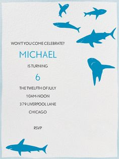 Sharks by Virginia Johnson for Paperless Post. Online invitations for kids' birthdays made with easy-to-use design tools and RSVP tracking. View other kids' party invitations on paperlesspost.com.