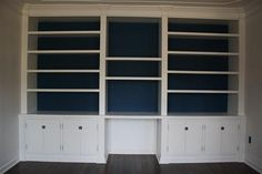 DIY Built in bookcases for $375!! Would be cool around window in dining room for bar, library, cookbooks, storing serving stuff in cabinets.