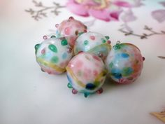 5+Lampwork+Beads+Destash+Pink+White+Blue+Green+by+believesjewelry