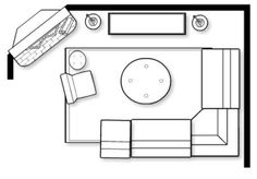 to Arrange Furniture Around a Corner Fireplace Experiment with various floor plan options by sketching the room on paper or space planning software.Experiment with various floor plan options by sketching the room on paper or space planning software. Living Room Floor Plans, Living Room Flooring, Bedroom Flooring, Small Room Design, Family Room Design, Living Room Furniture Layout, Living Room Interior, Corner Sofa Living Room Layout, Corner Couch