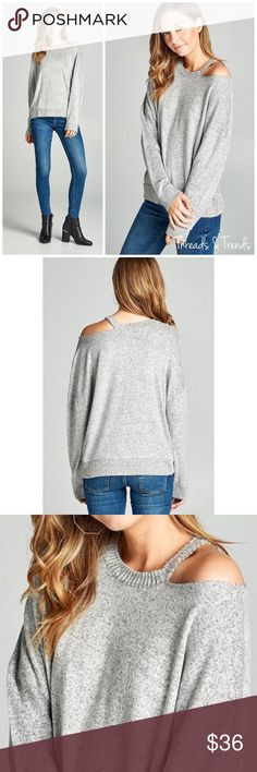 🆕🌸 Emily Cut Out Sweater Heather grey round neck cut out shoulder detail hacci brushed sweater. Made of rayon, poly and spandex blend. Size S, M, L Threads & Trends Sweaters