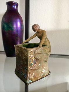 0036207720472 Zsolnay cigarette holder with woman, beautiful glaze. Art Nouveau, Art Deco, Cigarette Holder, Glaze, Pottery, Woman, Beautiful, Home Decor, Enamel