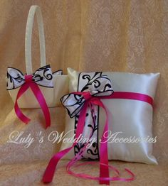 Black Damask and Hot Pink or Fuschia Wedding Colors by All4Brides
