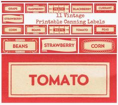Free Printable Vintage Red Canning Labels from Knick of Time @ knickoftimeinteriors.blogspot.com