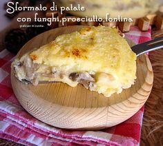 Sformato di patate con funghi,prosciutto,fontina http://blog.giallozafferano.it/graficareincucina/sformato-di-patate-con-funghiprosciuttofontina/