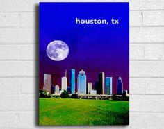 city skyline texas houston print vintage art poster 11x17. $15.00, via Etsy.