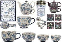Blue Floral Tea for One Coasters Mugs Measuring Spoons Cups Black Morris Style