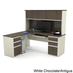 Bestar Prestige Plus L-shaped Workstation with Hutch and Dual Full Pedestals
