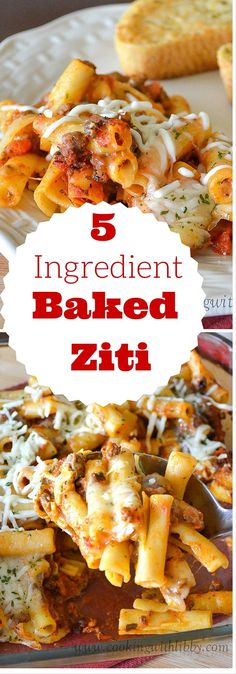 Five Ingredient Baked Ziti: A simple dinner in less then 30 minutes. Saving for bake temp and time. Alter ingredients.