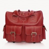 "Jill-e Designs red leather rolling bag for camera gear and 17"" laptop"