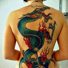 nice Dragon tattoo on back