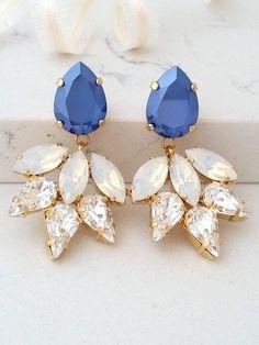 Royal blue earring,Bridal chandelier earrings,Sapphire blue white opal earrings,Statement earring,Swarovski crystal earring,Bridesmaids gift by EldorTinaJewelry on Etsy | http://etsy.me/2cVe0Gg