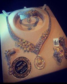 I Love Jewelry, Jewelry Sets, Fine Jewelry, Jewelry Design, Diamond Necklace Set, India Jewelry, Jewellery 2017, Diamond Jewellery, Diamond Are A Girls Best Friend