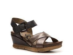 8a2cb9b24e2 OTBT Gearhart Cross Strap Slingback Wedge Sandal leather black bronze 2.75h  sz7.5