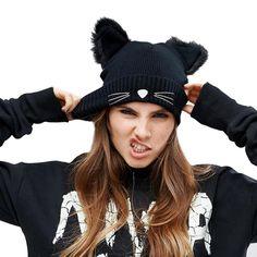 Mujer de Sombrero de Invierno Harajuku Lana Beanie Cuernos Del Oído de Gato Trenzado de Punto de ganchillo de Esquí Gorro de Piel Noverlty Chica Sombrero Capó negro
