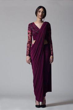 Buy online Sarees - Wine v-neck concept sari from Bhaavya Bhatnagar Saree Draping Styles, Drape Sarees, Saree Styles, Silk Sarees, Saree Designs Party Wear, Saree Blouse Designs, Dress Indian Style, Indian Dresses, Indian Saris