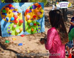 Butterfly Balloon Burst (or we could do the word spring or something) - DIY Spring Game! No Darts Needed! Carnival Games For Kids, Diy Carnival, Spring Carnival, Carnival Birthday, Birthday Party Games, Carnival Decorations, School Carnival, Birthday Ideas, Table Decorations