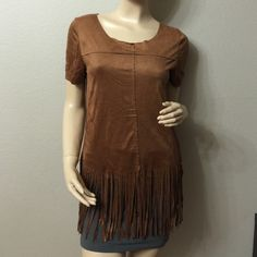 Cute Brown Short Sleeve Fringe Top Really light and soft top perfect with some shorts and wedges. 100% polyester Neslay Design  Tops Tees - Short Sleeve