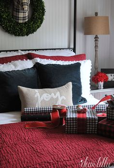 I love finding coordinating wrapping paper for our holiday guests. This mix of black and red paper from @homegoods works perfectly in our black and white guest bedroom that we added touches of red to for Christmas. (sponsored pin)