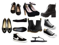 """""""Black shoes"""" by mirielanarion on Polyvore featuring moda, Charlotte Russe, Converse, NIKE, Dr. Martens, GUESS, Charlotte Olympia i Melissa"""