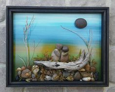 """Pebble Art and Rock Art (special couple sitting on a log) in a 14 1/2 x 11 1/2 """"open"""" vintage wood shadow box frame"""