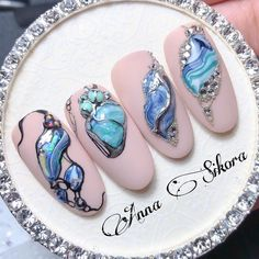 Accent Nail Designs, Toe Nail Designs, Nail Art Hacks, Gel Nail Art, 3d Nails, Love Nails, Manicure, Nailart, Abstract Nail Art