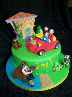 Wiggles Wiggles cake for my husbands boss's son. It was a fun cake to do. Wiggles Cake, Wiggles Party, Wiggles Birthday, 3rd Birthday Cakes, The Wiggles, 2nd Birthday Parties, Birthday Ideas, Fondant Figures, Specialty Cakes