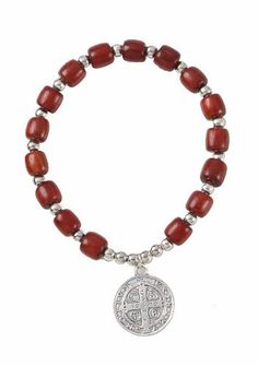 "St. Benedict 0.71"" Medal Wood Bracelet. Assembled in the U.S.A. Religious Gallery. $8.99. 0.71'' St. Benedict Medal. Silver Beads. Elastic. Made in Brazil. Wood Beads"