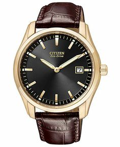 Citizen Watch, Men's Eco-Drive Brown Leather Strap 40mm AU1043-00E - Men's Watches - Jewelry & Watches - Macy's