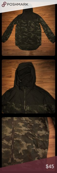 Cotton On Camo Jacket This athletic jacket is lightweight. The hood has mesh inside. Ask questions below if interested! Cotton On Jackets & Coats Utility Jackets