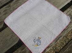Monday Handkerchief. Vintage French lundi linen hanky. Hand embroidered young girl brushing her teeth @PumpjackPiddlewick on Etsy