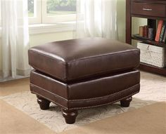 Lockhart Traditional Burgundy Brown Leather Ottoman