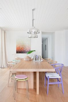 Beautiful dining space an abundance of natural light and timber, lifted with pops of pastels   Residential design; interior design; styling; homewares; decor   MINTY WARES   VIA - style carrot - pastel by Hecker-Guthrie-studio