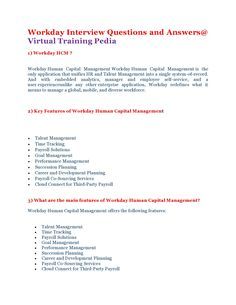 Here are some Interivew Questions On Workday.VTP provides Workday Online Training.Join VTP!. Contact us: +1 206-259-7993 Visit: http://virtualtrainingpedia.com/courses/hrm/workday/