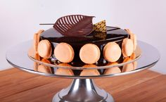 Thanksgiving Chocolate Louvre. Made with a duo of Chocolate and Hazelnut mousse with a crispy hazelnut biscuit, on top of a hazelnut dacquoise cake.